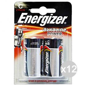 Set 12 ENERGIZER Alkaline C 2 Pezzi Pile E Batterie