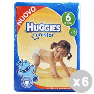 Set 6 HUGGIES UNISTAR 6 15-30 KG.*16 Pezzi Pannolini Linea Bimbo