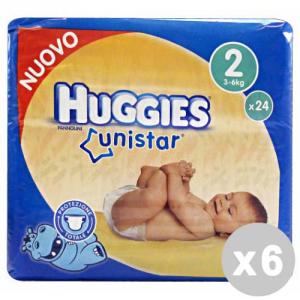 Set 6 HUGGIES UNISTAR 2 3-6 KG.X24 Pezzi Pannolini Linea Bimbo