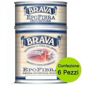 BRAVA Multipack 6 Pezzi Resina Epofibra Epossidica Fluida Da Litri 0,750 Impregnazione E Incollaggio