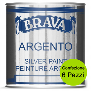 BRAVA Multipack 6 Pezzi Argento Vernice A Pennello Per Interno E Esterno Ml 750
