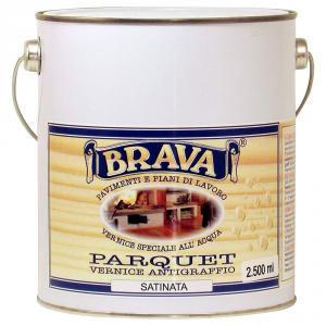BRAVA Vernice Parquet Trasparente Satinata All'Acqua Litri 2,5 Bricolage