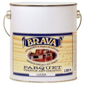 BRAVA Vernice Parquet Trasparente Lucida All'Acqua Litri 2,5 Bricolage Fai Da Te