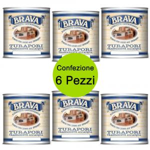 BRAVA Multipack 6 Pezzi Turapori All'Acqua Ml 750 Fondo Riempitivo Carteggiabile