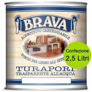 BRAVA Turapori All'Acqua 2,5 Litri Fondo Riempitivo Carteggiabile Bricolage