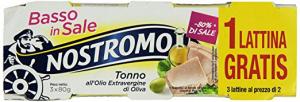 NOSTROMO Tonno Basso Sale In Olio Extra Vergine D'Oliva Grammi 80X2+1 Condimento