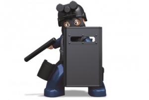 Personaggio Costruzioni Sluban agente antisommossa con maschera antigas