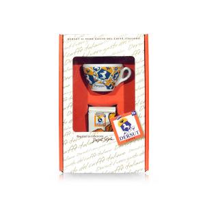 DERSUT Confezione Speciale Miscela Di Caffè Macinato Sp 125 G + 1 Tazzina The' Decorata A Sorpresa Made in Italy
