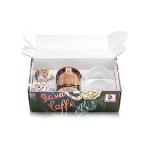 DERSUT Confezione Serie Storica Lattina Caffè 100% Arabica 250 G + 2 Tazzine Assortite Made in Italy