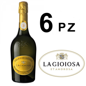 LA GIOIOSA Prosecco Valdobbiadene Confezione Da 6 Bottiglie Da 0,75 Cl Spago Docg Vino Italiano