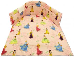 Coordinato lettino stampato  principesse rosa 4 pezzi