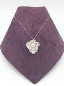 Collana donna a Fiore con perla e zircone in argento 925 vendita on line | BRUNI GIOIELLERIA