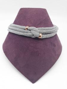 Collana donna in tessuto argentato intrecciato con inserti in argento ramato 925, vendita on line | GIOIELLERIA BRUNI Imperia