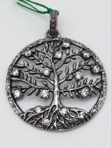 Ciondolo Donna Albero della Vita Crystal Tree in argento rodiato nero 925 con zirconi bianchi, vendita on line | GIOIELLERIA BRUNI Imperia