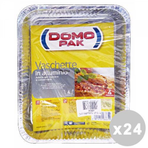 DOMOPAK Set 24 DOMOPAK Contenitori alluminio 4 porzioni senza coperchio * 4 pz.