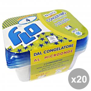 Set 20 Contenitore Plastica Freezer-Forno * 4 Pezzi FLO Contenitori per la cucina