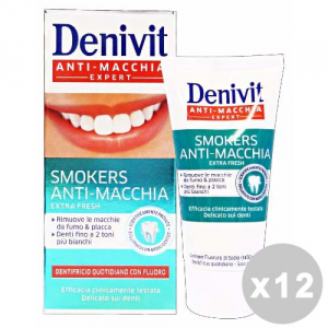 DENIVIT Set 12 DENIVIT Dentifricio smokers anti-macchia 50 ml. - dentifrici