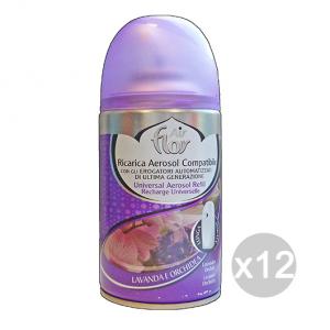 Set 12 AIR FLOR Ricarica 250 Ml Lavanda/Orchidea Deodorante Profumatore Ambiente