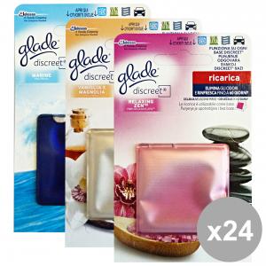 GLADE Set 24 Discreet Ricarica Marine-Vaniglia-Relax Deodorante Candele Profumatori