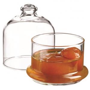Scatola porta confetti con cupola e piattino in vetro cl 22 cm.10h diam.9