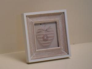 Portafoto in legno quadrata Beige con bordo bianco stile Shabby Chic cm.12x12