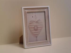 Portafoto in legno rettangolare Beige con bordo bianco stile Shabby Chic cm.23x18