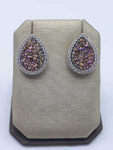 Orecchini con geodi multicolore zirconi in argento 925 |GIOIELLERIA BRUNI