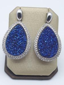 Orecchini pendenti con geodi blu e zirconi in argento 925 | GIOIELLERIA BRUNI Imperia
