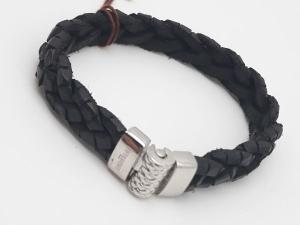 Bracciale uomo in cuoio nero con chiusura in argento 925 vendita on line | GIOIELLERIA BRUNI Imperia