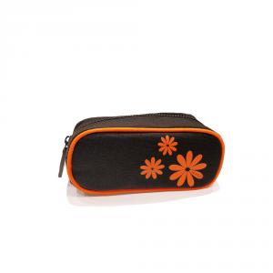 H.DUE.O -  Hippy Flowers - Trousse da donna piccolo nero con fiori arancioni cod. TBH-05