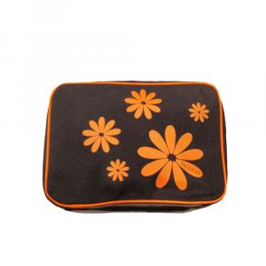 HDUEO - Hippy Flowers - Beauty organizer da donna L polistere nero con fiori arancioni cod. TBH-02