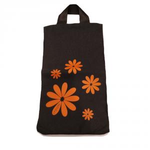 H.DUE.O - Hippy Flowers - Busta portascarpe nero con fiori arancioni cod. TBH-08