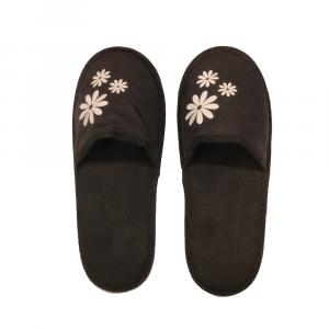 H.DUE.O - Hippy Flower - Ciabatte da viaggio in tessuto sintetico nere con fiori bianchi cod. TBH10