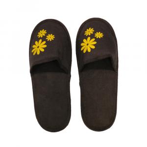 H.DUE.O - Hippy Flowers - Ciabatte da viaggio in tessuto sintetico nere con fiori gialli cod. TBH10