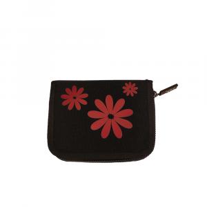 H.DUE.O - Hippy Flowers - Portafoglio con organizer interno nero fiori rossi cod. TBH09