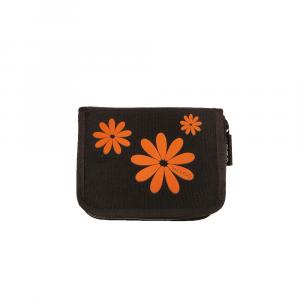 H.DUE.O - Hippy Flowers - Portafoglio con organizer interno nero fiori arancioni cod. TBH09