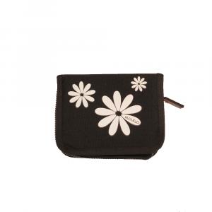 H.DUE.O - Hippy Flowers - Portafoglio con organizer interno nero fiori bianchi cod. TBH09