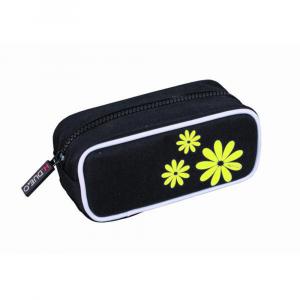 H.DUE.O -  Hippy Flowers - Trousse da donna nero con fiori gialli cod. TBH-05