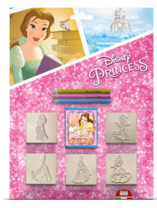 MULTIPRINT Set 5 Timbrini Con Tampone E 3 Matite Colorate Disney Princess Timbro 651