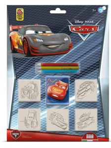 MULTIPRINT Set 5 Timbrini Con Tampone E 3 Matite Colorate Disney Cars Timbro 339