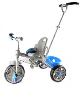 Triciclo Metallo Con Manico Sterzante Azzurro Triciclo Gioco Bambino Bambina 403