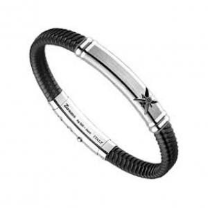 BRACCIALE ZANCAN CUOIO INTRECCIATO targa in argento con spinello nero