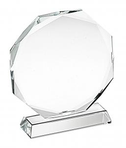 Trofeo in vetro ottagonale cm.6,6x6x3,2h diam.6