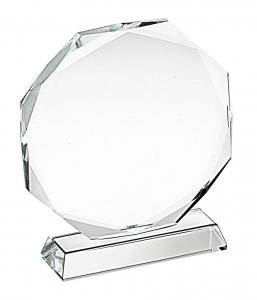 Trofeo in vetro ottagonale cm.7,8x7x3,2h diam.7