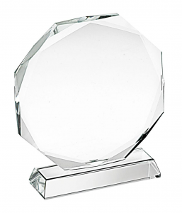 Trofeo in vetro ottagonale cm.10,8x10x3,2h diam.10