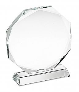 Trofeo in vetro ottagonale cm.12,8x12x3,2h diam.12