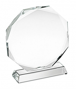 Trofeo in vetro ottagonale cm.9,8x9x3,2h diam.9