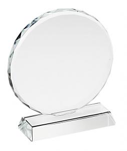 Trofeo in vetro tondo con bordo lavorato cm.12,8x12x3,2h diam.12
