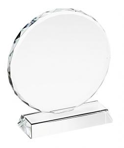 Trofeo in vetro tondo con bordo lavorato cm.6,8x6x3,2h diam.6