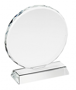Trofeo in vetro tondo con bordo lavorato cm.7,8x7x3,2h diam.7